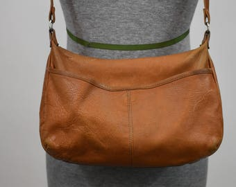 Vintage 80's leather purse BORSA VENETO tan