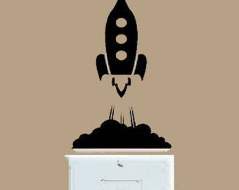 Spaceship decal, Rocket Ship decal, Wall decal, sticker decal, FREE SHIPPING, Black vinyl decal, light switch decal, kids room decor #223