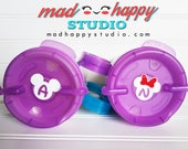 Mickey Minnie Ears Inital Decal for Resort Cup Lids - Solid & Glitter