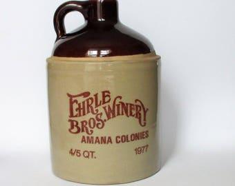 Ehrle Bros. Winery Crock - Wine Jug - Amana Colonies - 4/5 Quart Stoneware Crock - Farm, Cabin or Kitchen Decor