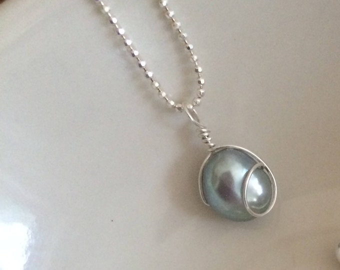 Grey Baroque Freshwater Pearl necklace Sterling Silver gray pearl drop necklace wire wrapped Pearl jewellery jewelry gift for her boxed