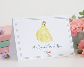 Belle Thank You Card, Beauty and the Beast Thank You Card, Belle Birthday, Beauty and the Beast Party, Watercolor Thank You Card, Belle Card