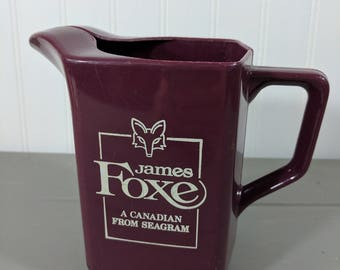 """Vintage James Foxe, A Canadian From Seagram, Maroon 5.5"""" Plastic Mid Century Barware Water Pitcher"""