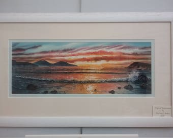 Large Original Watercolour of a Whitesands sunset, near St Davids, Pembrokeshire  West Wales. Seascapes, beach paintings, Welsh art. Sunsets