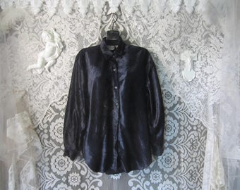 Purple 90's Crushed Velvet Shirt Button up Top Oversized Blouse Goth Punk Grunge Boho Hipster Collared Early Nineties Club Kid Festival Dark