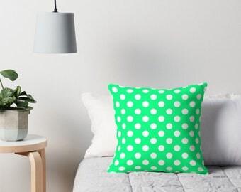 Mint Green Pillow Cover, Green Polka Dot Bedding, Green Polka Dot Pillow, Polka Dot Cushion, Polka Dot Pillow, Polka Dot Pillow Cover, Green