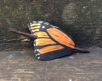 Monarch Butterfly Wing Leather Barrette, Painted Monarch, Butterfly Hair Barrette, Butterfly Hair Clip, Hair Stick, Painted Leather, Faerie