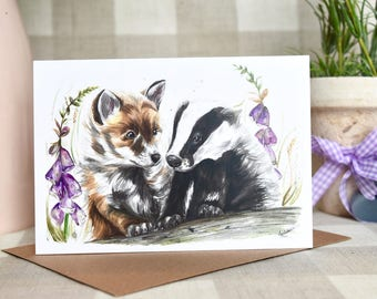 Fox and badger greeting card