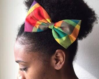 Hair clip bow tie fabric multicolored madras