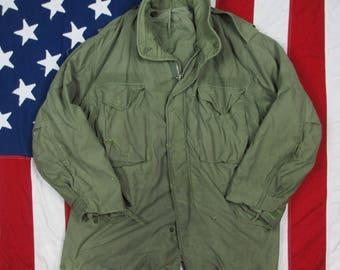 Vintage 1960's Well Worn USGI M-1951 Army Field Coat OG-107 Olive Drab Cold War Militaria Veteran Marines Vietnam Era