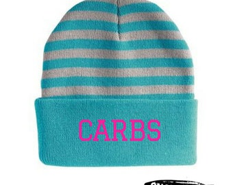CARBS Knit Hat, Funny Macros Hat, Paleo Workout Hat, Fitness Hat, Foodie Gift, Lift Workout Hat