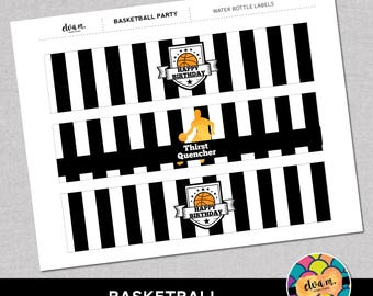 Basketball Birthday Party Water Bottle Labels - DIY Water Bottle Labels *INSTANT DOWNLOAD*