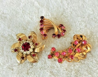 Three Rhinestone Brooches , Pink and Red Rhinestone pins Vintage