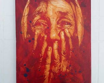 Old woman - Handmade Stencil art - Steet art - Artwork - Spray on canvas.