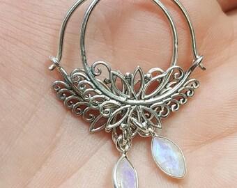 Filigree hoop earrings. Rainbow Moonstone earrings. Floral hoop earrings. Tribal hoops. Moonstone hoops. Bohemian hoops. Boho earrings.