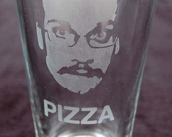 Etched Pizza John Glass