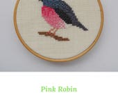 cross stitch bird pattern. Pink Robin. pink bird cross stitch. Cross stitch bird design. Small cross stitch. Bird embroidery pattern.