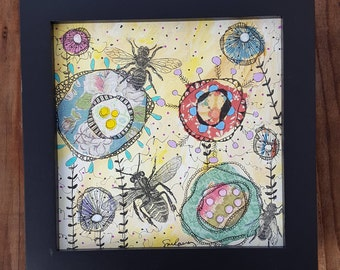 "Busy Bees-Framed 6x6"" Mixed Media Collage, bees"