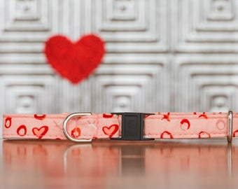 Rose Gold Cat Collar, X's and O's, XOXO, Pink, Red, Hearts, Valentines, Breakaway Cat Collar