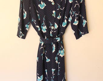 80s navy polka-dot floral belted button-up midi dress M