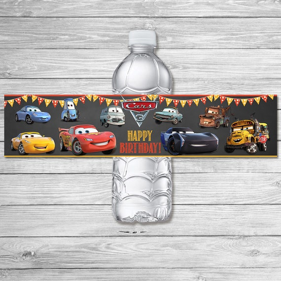 Disney Cars 3 Drink Label Chalkboard Cars 3 Water Bottle