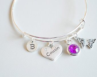 Cousin Jewelry, Cousin Birthday Gift, Cousin Bracelet, Cousin personalized Gift, Gift for Cousin, Gift for Family, Birthday present