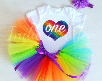 Birthday tutu Baby rainbow 1st headband babysuit birthday glitter personalised one set photo prop cake smash