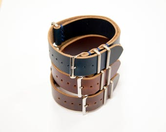 Horween NATO Strap, 6 color, Horween NATO Watchband, Leather nato strap, watch strap, handmade nato, 18,20,22,24mm leather strap