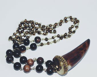 Long Beaded Tusk Necklace