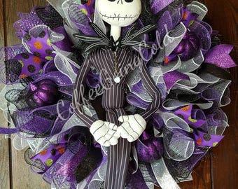 Jack Skellington, Nightmare Before Christmas, Jack, Halloween Wreath, Halloween, Pumpkin King, Pumpkin, Skellington, Skeletons, Skeleton,