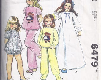 McCalls 6479 from 1979  Children's and Girls' Nightgown and Pajamas.  Size Medium -  Breast 25-27
