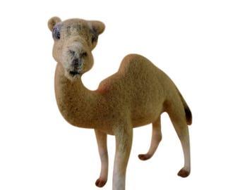 Needle Felted Brown Camel Desert Nativity Christmas Animal Wool Art Sculpture