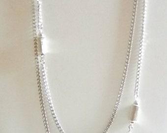 MONET Long Silver Tone Chain Necklace
