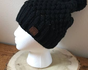 Black Winter Hat. Winter Hat Women's. Winter Hat with Pom Pom. Gifts for her.  Women's Hat Winter. Women's Hats Vintage. Ready to Ship.