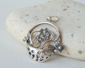 Sterling Silver Flower Basket Pendant Filigree Flower Vintage 925 Flower Pendant, Floral Pendant 800 Silver Basket Flower Jewelry Basket 925