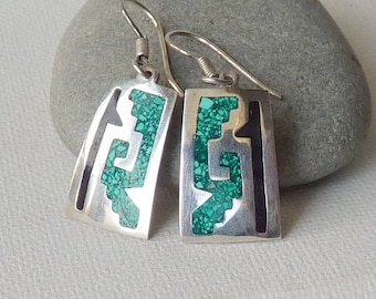 Vintage Silver Turquoise Inlay Earrings, Crushed Inlay Turquoise Jewelry, Southwestern Earrings, Navajo Style, Turquoise Dangle Pierced
