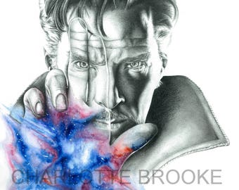 Doctor Strange Pencil and Watercolour Drawing Print