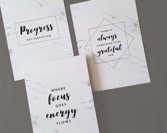 Set of 3 marble motivational prints
