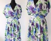 1980s Vintage Party Dress 80s Floral Dress Floral Grunge Hipster Summer Dress Draped Boho Midi Dress Vintage Sundress uk 10 12 sm