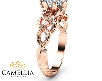 Twig Diamond Engagement Ring 14K Rose Gold Branch Ring Choose Your Diamond Engagement Ring