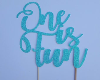 One is fun cake topper, First birthday cake topper