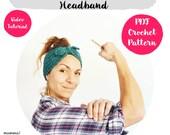 Superpower Woman  Headband Crochet Pattern, ear warmer, turban, easy video tutorial, all sizes, woman, step by step, crochet turban
