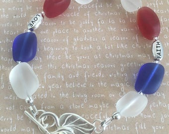 Faith Hope Love, USA colors, Christian bracelet, Inspirational gift, cultured sea glass bracelet, red white and blue. Bible verse jewelry.