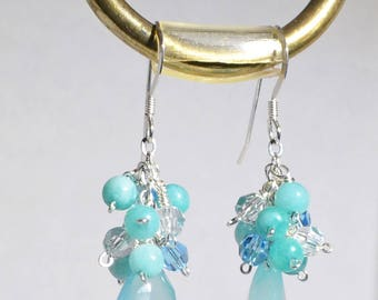 Aqua Chalcedony, Jade, Swarovski Crystals Sterling Silver Earrings