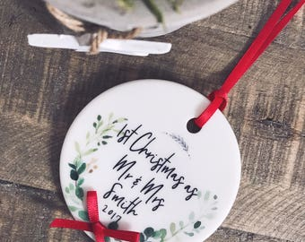 First Christmas as Mr and Mrs Mr and Mr Mrs and Mrs Botanical Round Ceramic Tree Hanger Decoration Ornament