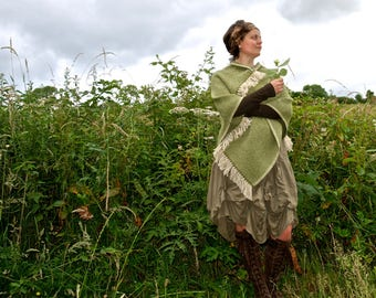 Green and cream thick wool poncho robustly handwoven in Devon, England
