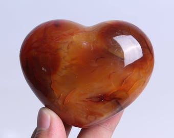 Natural Carnelian Polished Red Agate Crystal Heart Healing J529