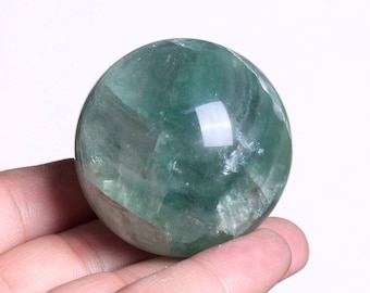 Natural Green Fluorite Quartz Crystal Sphere Ball Healing, Crystals and Minerals , Wiccan Pagan Crystal J990