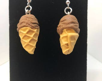 Chocolate Ice Cream Earrings - Dangle - Gift - Birthday - Anniversary - Polymer Clay - Ice Cream Cone - Unique - Food Jewelry - Summer