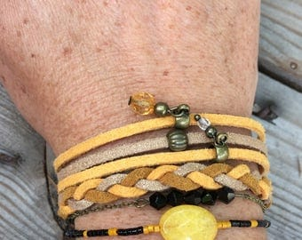 Mustard yellow and golden brown and bronze Cuff Bracelet